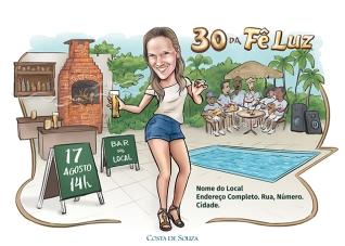 caricatura aniversário samba 30 anos