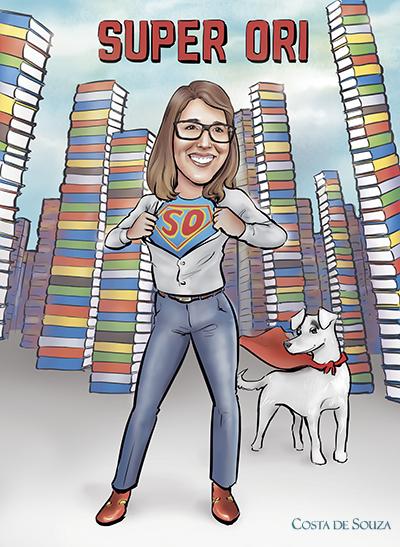 caricatura encomenda mulher professora