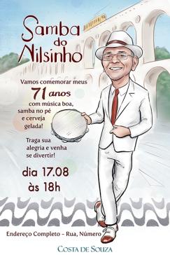 caricatura samba aniversário convite