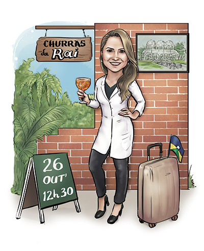 caricatura formatura Medicina Curitiba churrasco