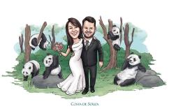caricatura casamento noivos panda wedding
