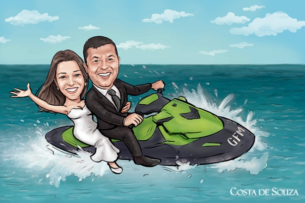 Excited couple riding jetski