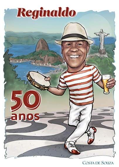 caricatura samba aniversário 50 anos rio