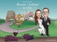 caricatura casamento bento gonçalves save the date
