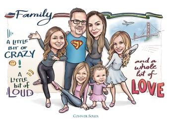 caricatura família caricature family quadro