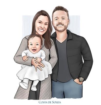 caricatura família pai mãe desenho