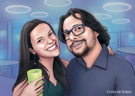 caricatura namorados quadro presente