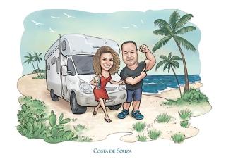 caricatura namorados canal viagem praia