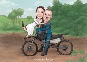 caricatura noivos casamento moto