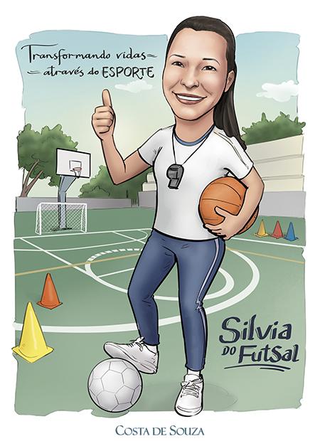 caricatura educação física encomenda