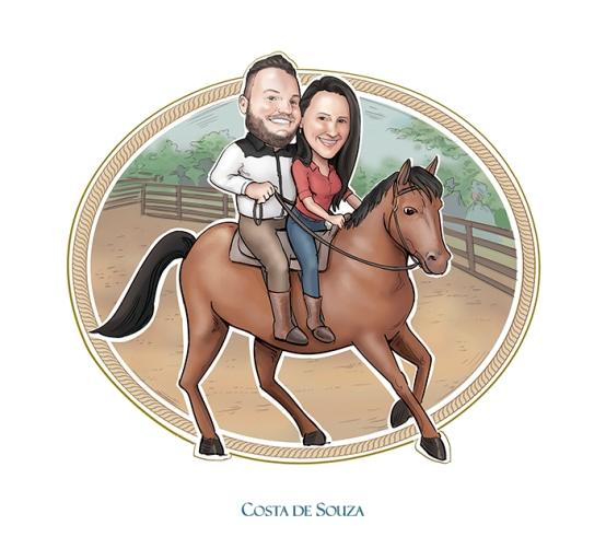 caricatura namorados quadro fazenda cavalo