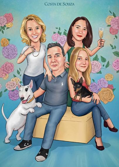 caricatura família quadro costa de souza 2